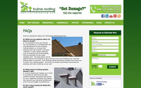 Screenshot of FAQ Page trulineroofing.com - FAQs   Charlotte, Greenville, and Wilmington NC Roofing Contractors - captured Oct. 9, 2014
