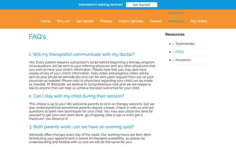 Screenshot of FAQ Page westsidechildrenstherapy.com - Frequent Questions for Physical, Occupational, Speech, ABA, EEG therapy | Westside Children's Therapy - captured Oct. 20, 2018