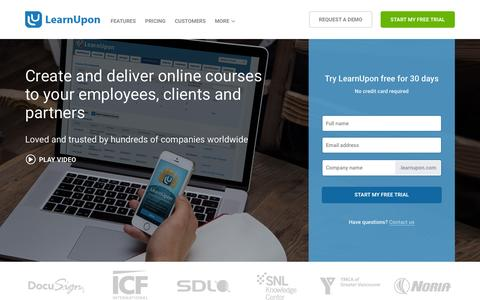 Screenshot of Home Page learnupon.com - Learning Management System | Online Training Software - captured June 16, 2015