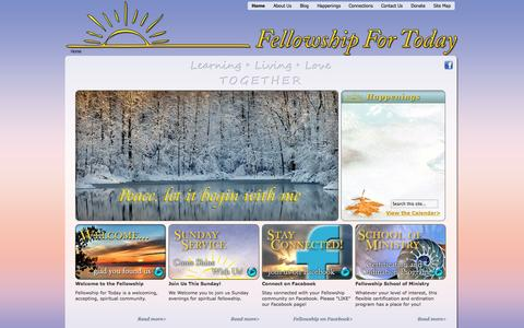Screenshot of Home Page fellowshipfortoday.org - Home | Fellowship for Today - captured Jan. 28, 2015
