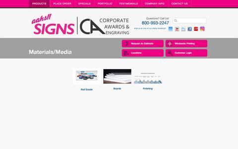 Screenshot of Press Page aahssigns.com - Aahs Signs : Products : Materials/Media : Materials/Media - captured Oct. 7, 2017