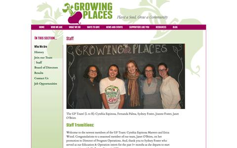 Screenshot of Team Page growingplaces.org - Growing Places Gardening Project - captured July 20, 2016