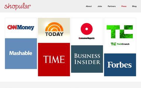 Screenshot of Press Page shopular.com - Press  | Shopular - captured Sept. 17, 2014