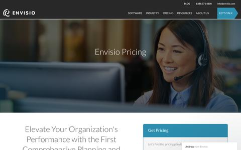 Screenshot of Pricing Page envisio.com - Pricing Inquiry - captured Feb. 25, 2018