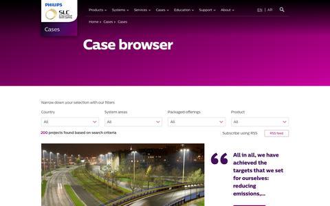 Screenshot of Case Studies Page philips.com - Case browser - Philips Lighting - captured Sept. 29, 2017