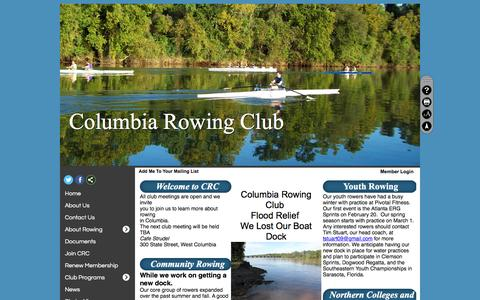 Screenshot of Home Page Maps & Directions Page columbiarowingclub.com - Home - Columbia Rowing Club - captured June 13, 2016