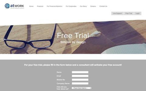 Screenshot of Trial Page atwork.co.za - Start Your Free Trial – CRM Products & Solutions | atWORK - captured Oct. 21, 2018