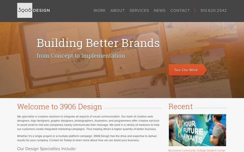 Screenshot of Home Page 3906design.com - Web Design, Logo Design, & Graphic Design Wilmington, NC - captured Jan. 26, 2015