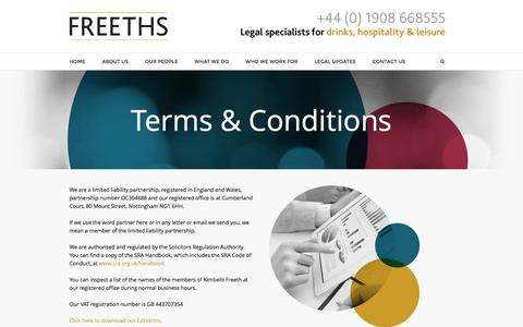 Screenshot of Terms Page hospitalitylaw.co.uk - Terms & Conditions - Freeths | Legal Specialists for Drinks, Hospitality and Leisure - captured Feb. 1, 2016