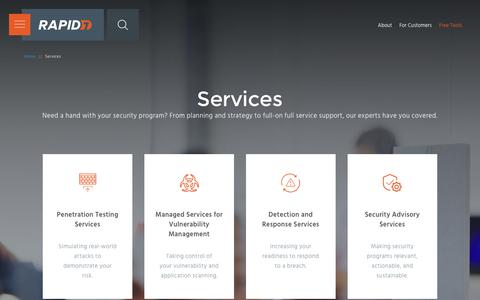 Screenshot of Services Page rapid7.com - Cyber Security Services | Rapid7 - captured Nov. 24, 2016