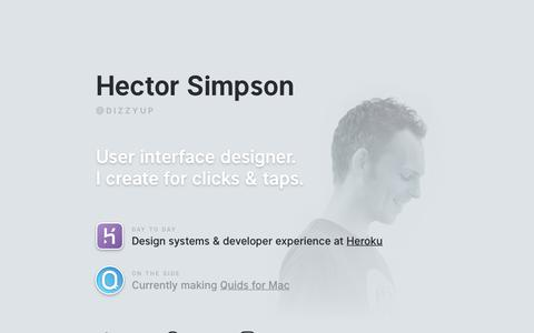 Screenshot of Home Page hector.me - Hector Simpson — Interface Designer - captured Oct. 9, 2018