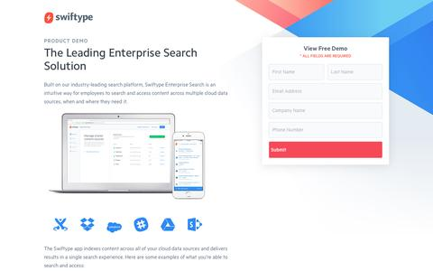 Screenshot of Landing Page swiftype.com - Product Demo: Swiftype Enterprise Search - captured May 12, 2017