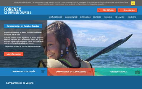 Screenshot of Home Page forenex.com - Campamentos De Verano 2018 En España Y Extranjero | Forenex® - captured Oct. 10, 2018