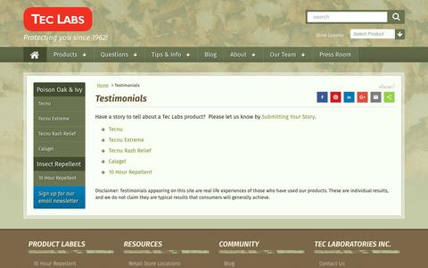 Screenshot of Testimonials Page teclabsinc.com - Testimonials, Reviews| Tec Labs - captured Oct. 20, 2017