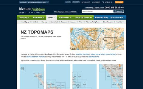 Screenshot of Maps & Directions Page bivouac.co.nz - New Zealand Topo Maps - Bivouac Online Store - captured July 11, 2017