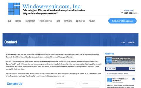 Screenshot of Contact Page windowrepair.com - Contact - Windowrepair.com, Inc. - captured Oct. 20, 2018