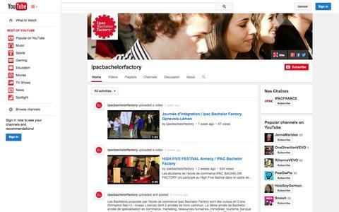 Screenshot of YouTube Page youtube.com - ipacbachelorfactory  - YouTube - captured Oct. 27, 2014