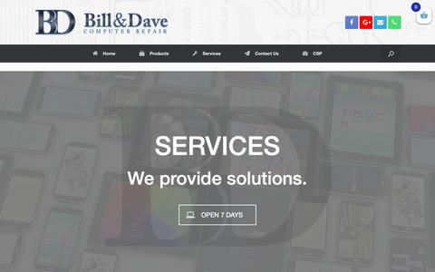 Screenshot of Services Page billanddave.ca - Services – Bill & Dave Computer Repair Inc. 613.317.1200   Ottawa Computer Repair and Services, iPhone   iPod   iPad   Laptops   Tablets   Game Consoles - captured Oct. 5, 2018