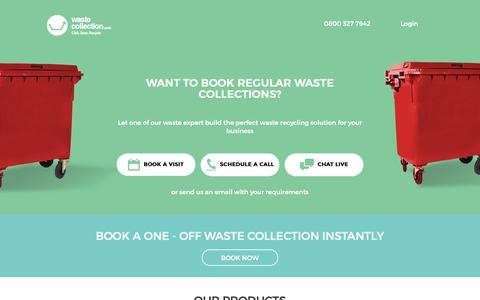 Screenshot of Home Page wastecollection.com - Waste Removal and Recycling Services - Waste Collection - captured Oct. 11, 2018
