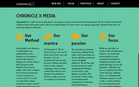 Screenshot of About Page chroniclexmedia.com - Web Development, Search Engine Optimization And Social Media Services - captured Dec. 8, 2015
