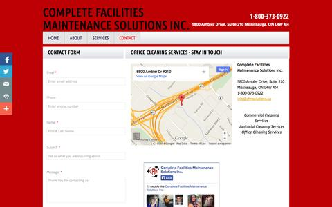 Screenshot of Privacy Page Contact Page cfmsolutions.ca - Complete Facilities Maintenance Solutions inc. : Contact - captured Oct. 22, 2014