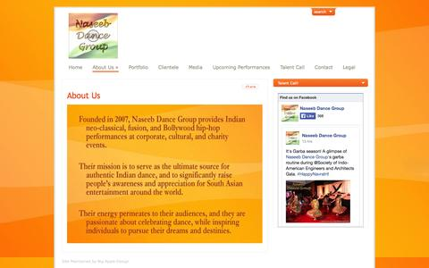 Screenshot of About Page naseebdancegroup.com - About Us   Naseeb Dance Group - captured Sept. 30, 2014