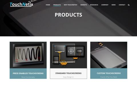 Screenshot of Products Page touchnetix.com - PRODUCTS - TouchNetix - captured March 27, 2016