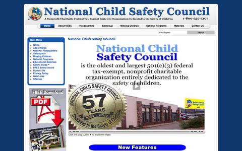 Screenshot of Home Page nationalchildsafetycouncil.org - National Child Safety Council - captured Sept. 30, 2014