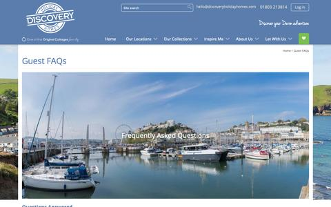 Screenshot of FAQ Page discoveryholidayhomes.com - Frequently Asked Questions | Devon Self Catering | Discovery Holiday Homes - captured Oct. 9, 2018