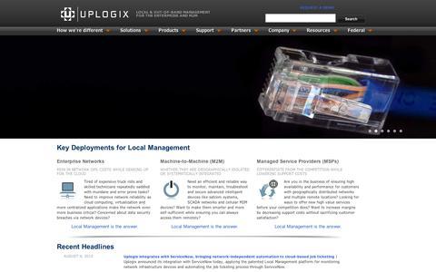 Screenshot of Home Page uplogix.com - Local Network Management | Uplogix | Network Management and Monitoring - captured Sept. 11, 2014