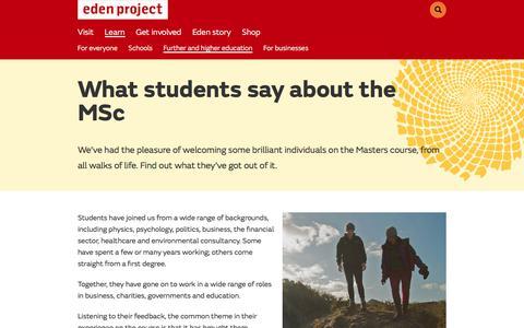 Screenshot of Testimonials Page edenproject.com - Student testimonials, MSc Sustainability with Anglia Ruskin University - Eden Project, Cornwall - captured Feb. 21, 2018