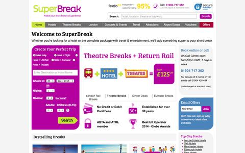 Screenshot of Home Page superbreak.com - Hotels for Short Breaks, UK Breaks, City Breaks, Hotel Booking Europe - captured Sept. 24, 2014
