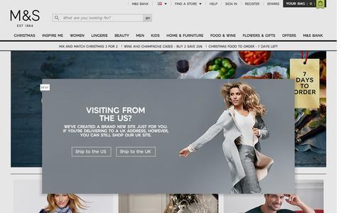 Screenshot of Home Page marksandspencer.com - Welcome to Marks & Spencer - captured Dec. 8, 2016