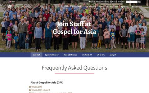 Screenshot of FAQ Page gfa.org - FAQs about Gospel for Asia - Gospel for Asia - captured April 13, 2018