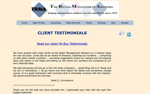 Screenshot of Testimonials Page the-retail-advisor.com - Client Testimonials - captured July 8, 2018