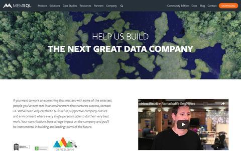 Screenshot of Jobs Page memsql.com - Work at MemSQL - MemSQL Careers - captured Sept. 6, 2016