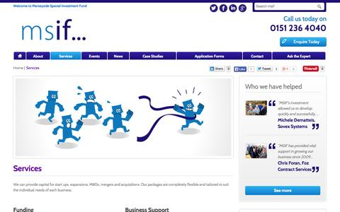Screenshot of Services Page msif.co.uk - Services | MSIF - captured Oct. 1, 2014