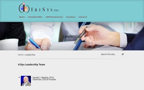 Screenshot of Team Page irisys.com - Leadership   Irisys - captured Sept. 30, 2014