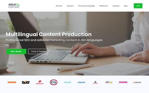 Screenshot of Home Page greatcontent.com - greatcontent – Multilingual Content Production in 30+ languages - captured Nov. 13, 2018