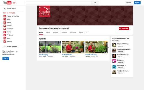 Screenshot of YouTube Page youtube.com - SundownGardens's channel  - YouTube - captured Oct. 29, 2014