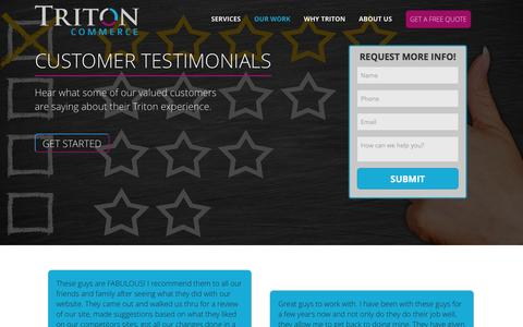 Screenshot of Testimonials Page tritoncommerce.com - Triton Commerce Reviews & Testimonials - Minneapolis, Mn - captured Feb. 27, 2016