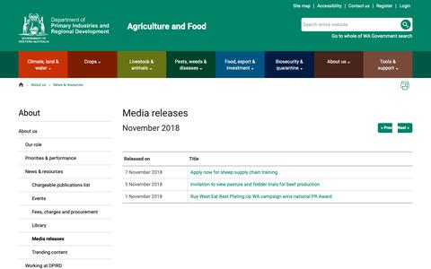 Screenshot of Press Page agric.wa.gov.au - Media releases | Agriculture and Food - captured Nov. 8, 2018