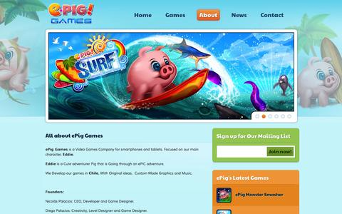 Screenshot of About Page epiggames.com - About - ePig Games - captured Sept. 16, 2014