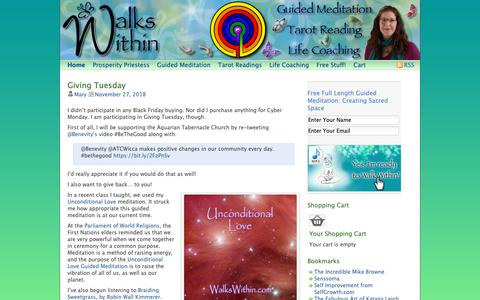 Screenshot of Home Page walkswithin.com - Walks Within Guided Meditation - captured Dec. 2, 2018