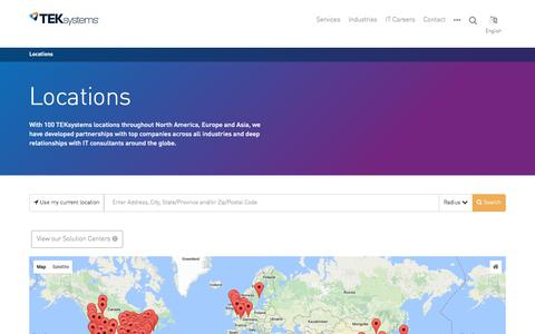 Screenshot of Locations Page teksystems.com - Locations | TEKsystems - captured Aug. 13, 2016