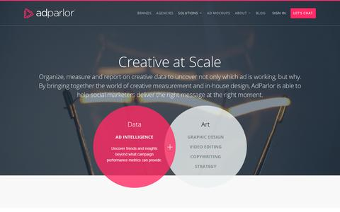 Screenshot of adparlor.com - Creative at Scale | AdParlor - captured April 11, 2017