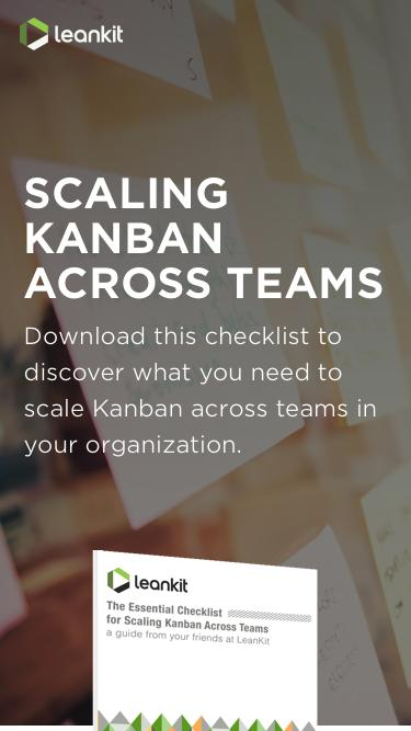 Screenshot of Landing Page  leankit.com - The Essential Checklist for Scaling Kanban Across Teams   LeanKit