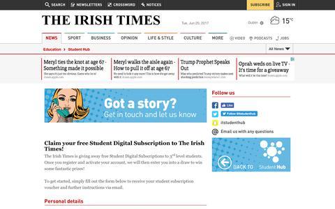 Screenshot of Signup Page irishtimes.com - Student Irish Times Subscription - captured June 20, 2017