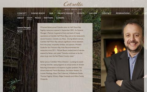 Screenshot of Team Page cetrella.com - Cetrella Half Moon Bay | California Coastal Cuisine | General Manager | Partner - captured Nov. 3, 2016