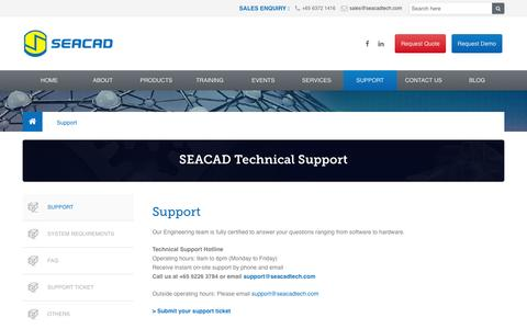 Screenshot of Support Page seacadtech.com - Software and Hardware Supports - SEACAD Technologies - captured Nov. 19, 2016